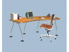 Modern office desk furniture sets 3d preview