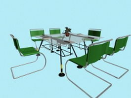 Glass conference furniture sets 3d model preview