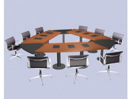 Modular conference room furniture 3d model preview