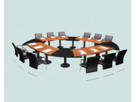 Conference room furniture layout 3d model preview