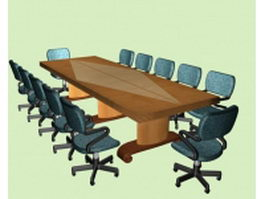 Meeting conference room furniture 3d model preview