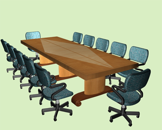 Meeting conference room furniture 3d rendering