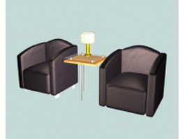 Waiting room sofa chairs 3d model preview