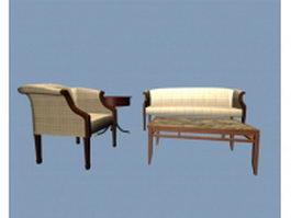 Vintage office sofa set 3d preview