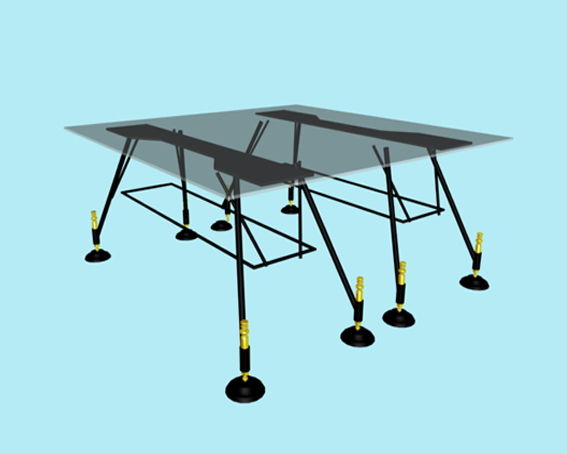 Modern glass conference table 3d rendering