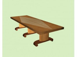 Solid wood conference table 3d model preview
