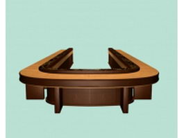 U-shaped conference tables 3d model preview