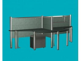 Workstation desk with partition 3d preview