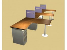 Modular office workstations 3d model preview