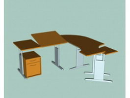 Office desk workstation 3d model preview