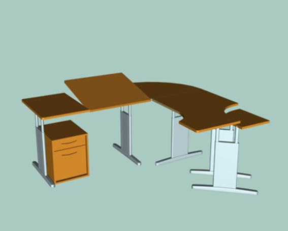 Office desk workstation 3d rendering