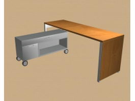 Modern office table with cabinet 3d model preview