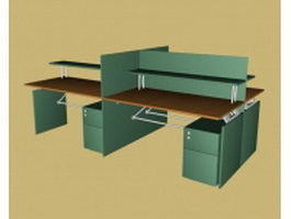 Modern office workstation 3d model preview
