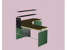 Corner office desk with shelves 3d preview