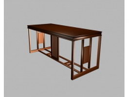 Classic office table 3d model preview