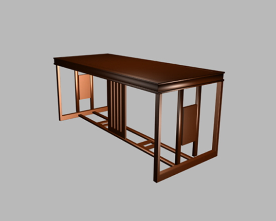 Classic office table 3d rendering