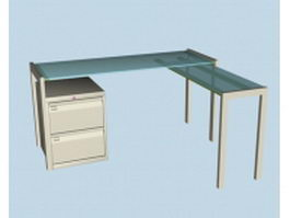 Frosted glass L-shaped office desk 3d preview