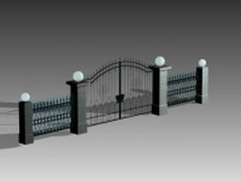 Iron entrance gate 3d preview