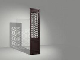 Carved wood room divider panel 3d model preview