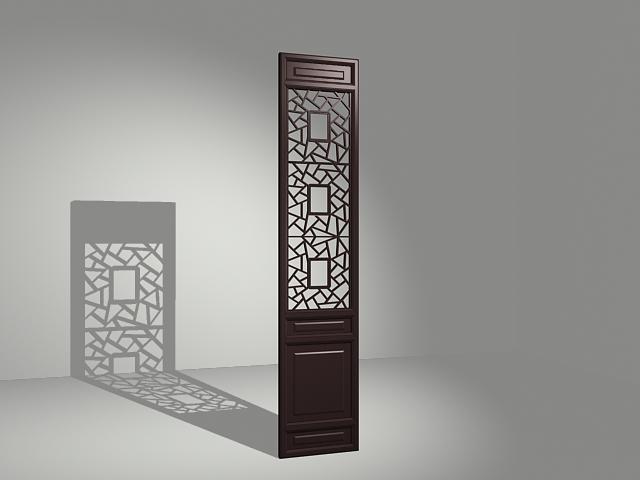 Latticework room divider panel 3d rendering