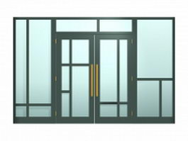 Entry door with transom and sidelights 3d model preview