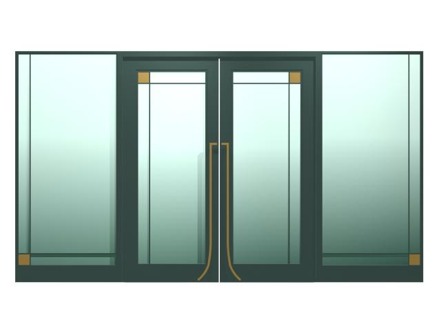 Exterior double glass doors 3d rendering