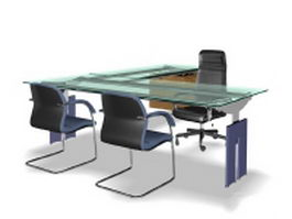 Glass office desk collection 3d model preview
