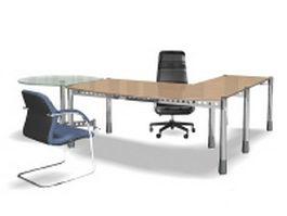 Office workspace desk sets 3d model preview