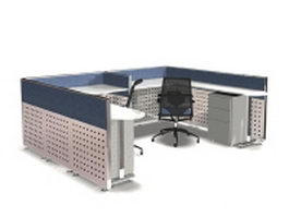 Modern office cubicles workstation systems 3d preview