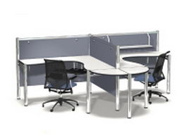 Commercial office cubicles desk partition 3d preview
