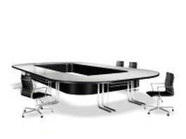 O shaped conference table and chairs 3d model preview
