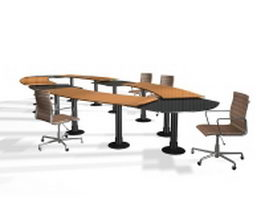 Modular conference table sets 3d model preview