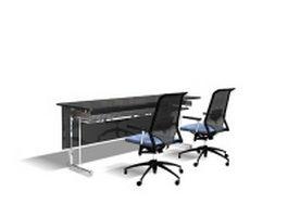 Simple office front desk 3d preview