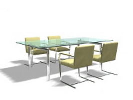 Glass meeting table and chairs 3d preview