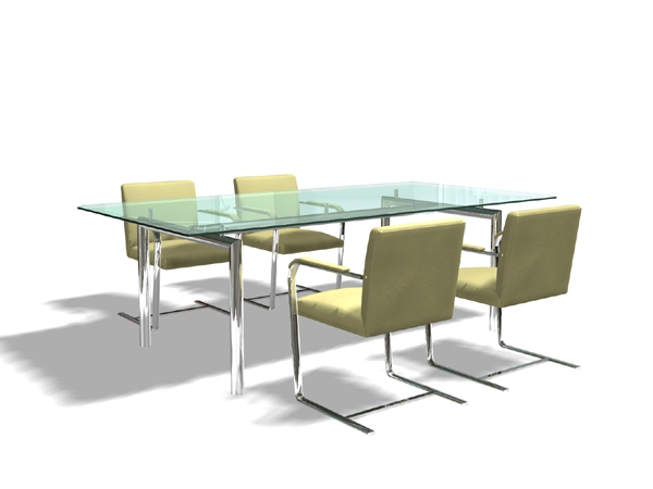 Glass meeting table and chairs 3d rendering