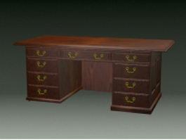 Vintage home office desk 3d model preview