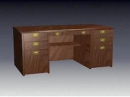 Antique executive desk 3d model preview