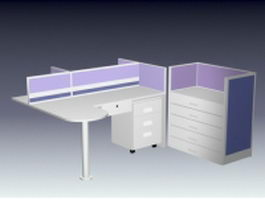 L shaped cubicle workstation 3d preview