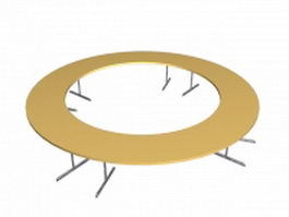 Circle conference table 3d model preview