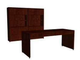 Office wall units with a desk 3d preview