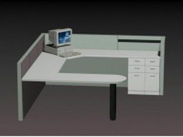 U shaped office workstation 3d preview