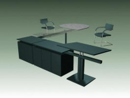 Modern office workstation table and chairs 3d preview
