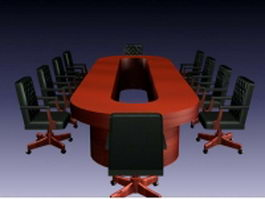 Conference room table and chairs 3d model preview