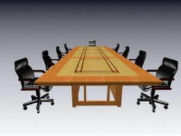Luxury meeting table and chairs 3d model preview