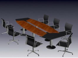Modern meeting table and chairs 3d model preview