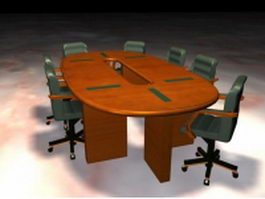 Office meeting desk and chairs 3d model preview