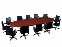 Modern oval wooden conference table and chairs 3d model preview