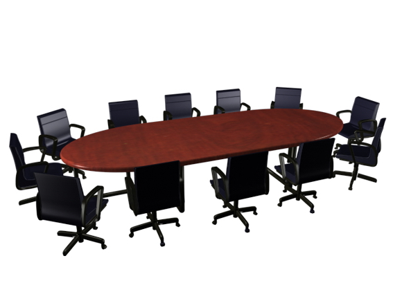 Modern oval wooden conference table and chairs 3d model ...