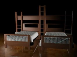 Wood twin beds for kids room 3d preview