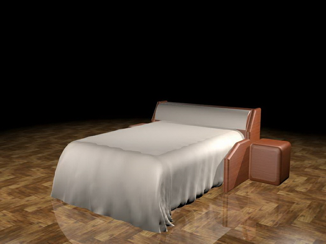 Hotel twin bed with nightstand 3d rendering